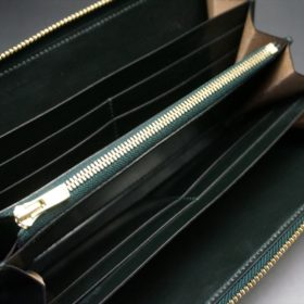 セドウィック社製ブライドルレザーのダークグリーン色のラウンドファスナー長財布(ゴールド色)-1-11