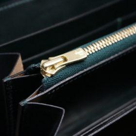 セドウィック社製ブライドルレザーのダークグリーン色のラウンドファスナー長財布(ゴールド色)-1-12
