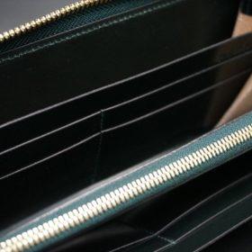 セドウィック社製ブライドルレザーのダークグリーン色のラウンドファスナー長財布(ゴールド色)-1-14