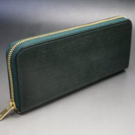 セドウィック社製ブライドルレザーのダークグリーン色のラウンドファスナー長財布(ゴールド色)-1-2