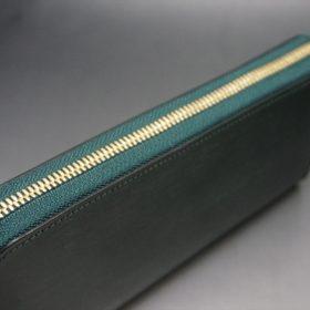 セドウィック社製ブライドルレザーのダークグリーン色のラウンドファスナー長財布(ゴールド色)-1-3
