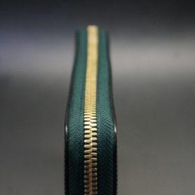 セドウィック社製ブライドルレザーのダークグリーン色のラウンドファスナー長財布(ゴールド色)-1-4