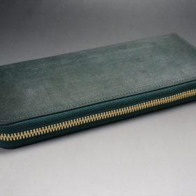 セドウィック社製ブライドルレザーのダークグリーン色のラウンドファスナー長財布(ゴールド色)-1-5