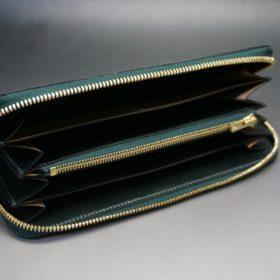 セドウィック社製ブライドルレザーのダークグリーン色のラウンドファスナー長財布(ゴールド色)-1-6