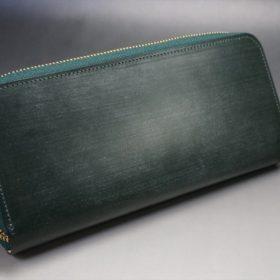 セドウィック社製ブライドルレザーのダークグリーン色のラウンドファスナー長財布(ゴールド色)-1-7