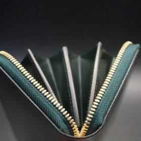 セドウィック社製ブライドルレザーのダークグリーン色のラウンドファスナー長財布(ゴールド色)-1-9