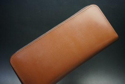 セドウィック社製ブライドルレザーのヘーゼルブラウン色のラウンドファスナー長財布(シルバー色)-1-1