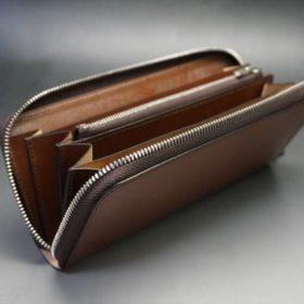 セドウィック社製ブライドルレザーのヘーゼルブラウン色のラウンドファスナー長財布(シルバー色)-1-10