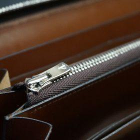 セドウィック社製ブライドルレザーのヘーゼルブラウン色のラウンドファスナー長財布(シルバー色)-1-13
