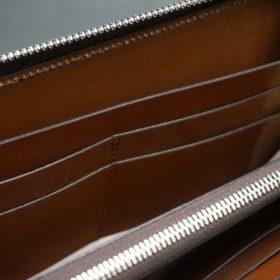 セドウィック社製ブライドルレザーのヘーゼルブラウン色のラウンドファスナー長財布(シルバー色)-1-16