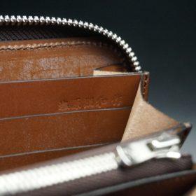 セドウィック社製ブライドルレザーのヘーゼルブラウン色のラウンドファスナー長財布(シルバー色)-1-17