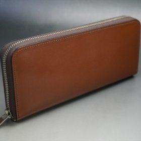 セドウィック社製ブライドルレザーのヘーゼルブラウン色のラウンドファスナー長財布(シルバー色)-1-2