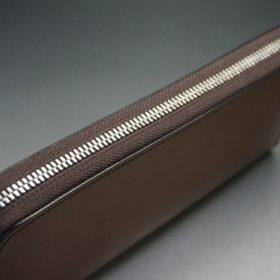 セドウィック社製ブライドルレザーのヘーゼルブラウン色のラウンドファスナー長財布(シルバー色)-1-4