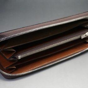 セドウィック社製ブライドルレザーのヘーゼルブラウン色のラウンドファスナー長財布(シルバー色)-1-7
