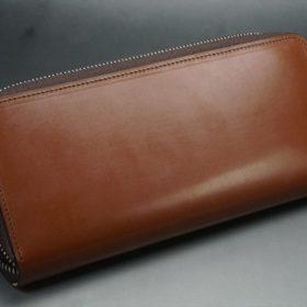 セドウィック社製ブライドルレザーのヘーゼルブラウン色のラウンドファスナー長財布(シルバー色)-1-8