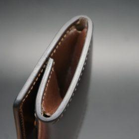 レーデルオガワ社製染料仕上げコードバンのバーガンディ色の小銭入れ(ゴールド色)-1-5