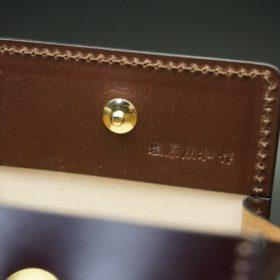 レーデルオガワ社製染料仕上げコードバンのバーガンディ色の小銭入れ(ゴールド色)-1-8