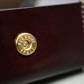 レーデルオガワ社製染料仕上げコードバンのバーガンディ色の小銭入れ(ゴールド色)-1-9
