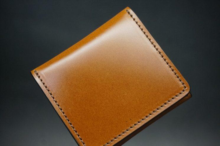 レーデルオガワ社製染料仕上げコードバンのキャメル色の小銭入れ(ゴールド色)-1-1