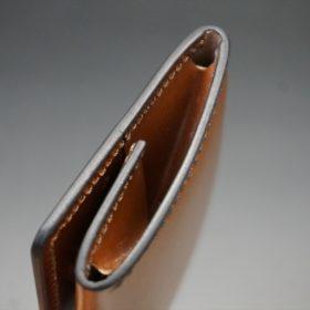 レーデルオガワ社製染料仕上げコードバンのキャメル色の小銭入れ(ゴールド色)-1-7