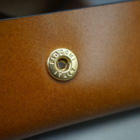レーデルオガワ社製染料仕上げコードバンのキャメル色の小銭入れ(ゴールド色)-1-9