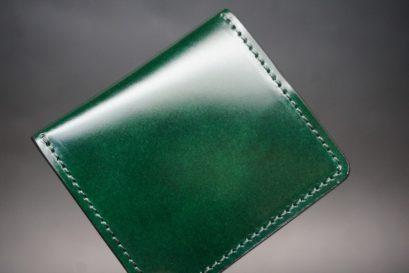 レーデルオガワ社製染料仕上げコードバンのグリーン色の小銭入れ(ゴールド色)-1-1