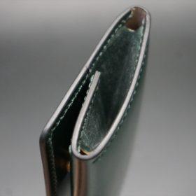 レーデルオガワ社製染料仕上げコードバンのグリーン色の小銭入れ(ゴールド色)-1-5