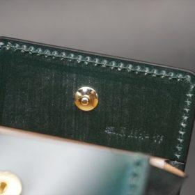 レーデルオガワ社製染料仕上げコードバンのグリーン色の小銭入れ(ゴールド色)-1-8