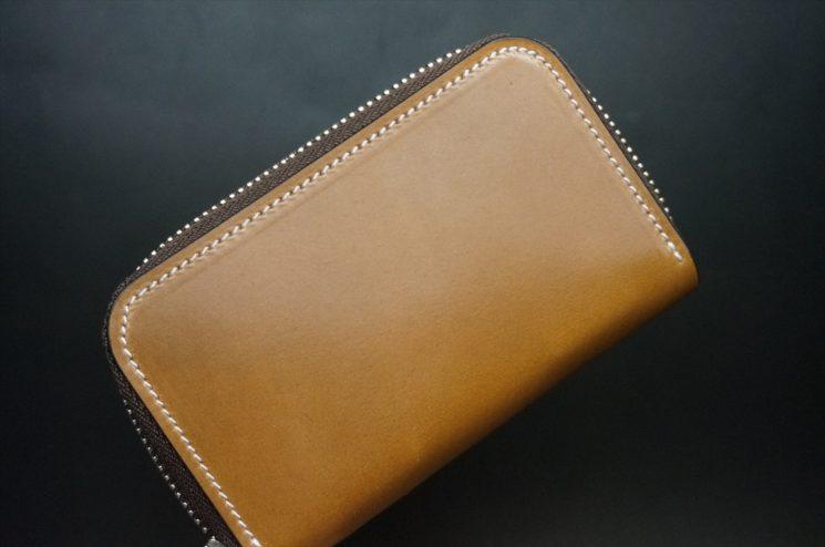 ホーウィン社製シェルコードバンのバーボン色のラウンドファスナー小銭入れ(シルバー)-2-1