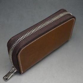 ホーウィン社製シェルコードバンのバーボン色のラウンドファスナー小銭入れ(シルバー)-2-4