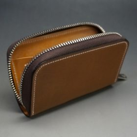 ホーウィン社製シェルコードバンのバーボン色のラウンドファスナー小銭入れ(シルバー)-2-8