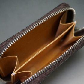 ホーウィン社製シェルコードバンのバーボン色のラウンドファスナー小銭入れ(シルバー)-2-9