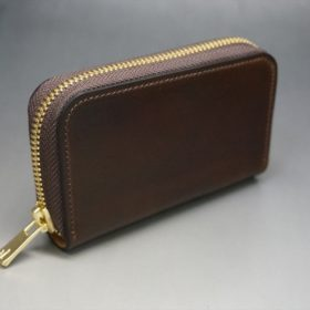 ホーウィン社製シェルコードバンのダークコニャック色のラウンドファスナー小銭入れ(ゴールド色)-1-2