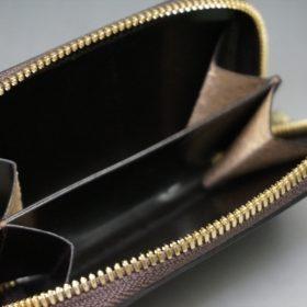 ホーウィン社製シェルコードバンのダークコニャック色のラウンドファスナー小銭入れ(ゴールド色)-1-7