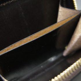 ホーウィン社製シェルコードバンのダークコニャック色のラウンドファスナー小銭入れ(ゴールド色)-1-8