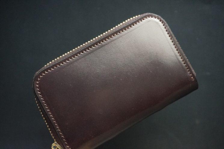 ホーウィン社製シェルコードバンの#8色のラウンドファスナー小銭入れ(ゴールド色)-2-1