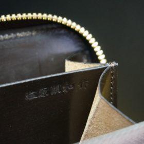 ホーウィン社製シェルコードバンの#8色のラウンドファスナー小銭入れ(ゴールド色)-2-12