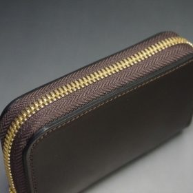 ホーウィン社製シェルコードバンの#8色のラウンドファスナー小銭入れ(ゴールド色)-2-4