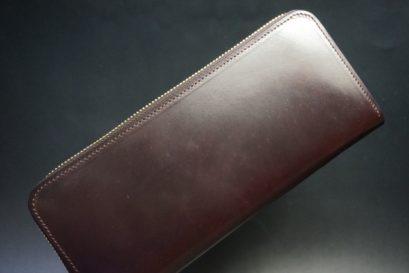 ホーウィン社製シェルコードバンの#8色のラウンドファスナー長財布(ゴールド色)-1-1