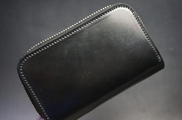 ホーウィン社製シェルコードバンのブラック色のラウンドファスナー小銭入れ(シルバー色)-1-1