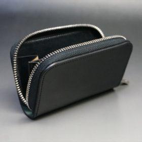 ホーウィン社製シェルコードバンのブラック色のラウンドファスナー小銭入れ(シルバー色)-1-10