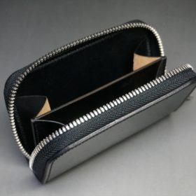 ホーウィン社製シェルコードバンのブラック色のラウンドファスナー小銭入れ(シルバー色)-1-11