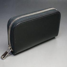 ホーウィン社製シェルコードバンのブラック色のラウンドファスナー小銭入れ(シルバー色)-1-2