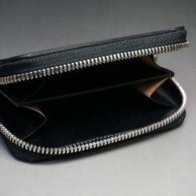 ホーウィン社製シェルコードバンのブラック色のラウンドファスナー小銭入れ(シルバー色)-1-7