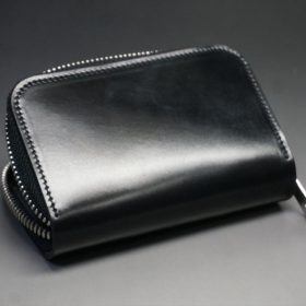ホーウィン社製シェルコードバンのブラック色のラウンドファスナー小銭入れ(シルバー色)-1-8