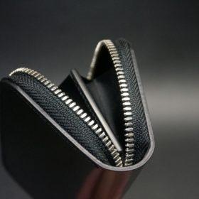ホーウィン社製シェルコードバンのブラック色のラウンドファスナー小銭入れ(シルバー色)-1-9