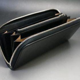 ホーウィン社製シェルコードバンのブラック色のラウンドファスナー長財布(シルバー色)-1-10