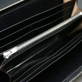 ホーウィン社製シェルコードバンのブラック色のラウンドファスナー長財布(シルバー色)-1-11
