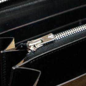 ホーウィン社製シェルコードバンのブラック色のラウンドファスナー長財布(シルバー色)-1-12
