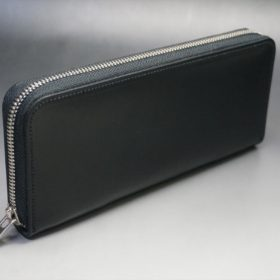 ホーウィン社製シェルコードバンのブラック色のラウンドファスナー長財布(シルバー色)-1-2